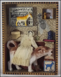 Goat Lady, mixed media assemblage art